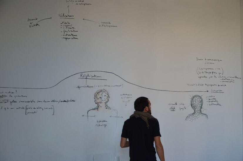 Les réalisateurs de Fabrice Hyber, dessin mural réalisé à l'école des beaux-arts de Nantes